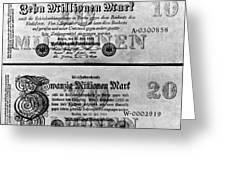 Inflated German Mark Bills Greeting Card