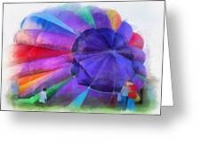 Inflating The Rainbow Hot Air Balloon Photo Art Greeting Card