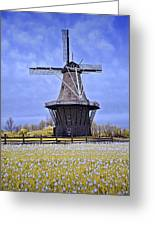 Infrared Photo Of The Dezwaan Dutch Windmill On Windmill Island In Holland Michigan Greeting Card
