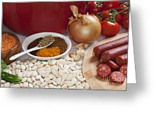Ingredients For Spanish Chorizo Soup Greeting Card