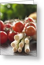 Ingredients For Tomato Sauce Greeting Card by Mythja  Photography
