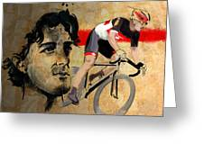 Ink Portrait Illustration Print Of Cycling Athlete Fabian Cancellara Greeting Card by Sassan Filsoof