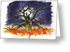 Inktober 19 Burning Tree Greeting Card