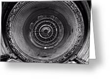 Inside A Jet Engine Black And White Greeting Card