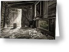 Inside Leo's Apple Barn - The Old Television In The Apple Barn Greeting Card by Gary Heller