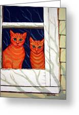 Orange Cats Looking Out Window Greeting Card