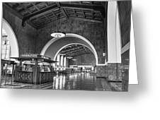 Inside Los Angeles Union Station In Black And White Greeting Card