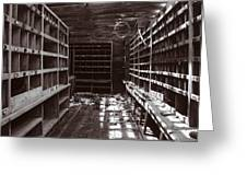 Inside Storage Building Sepia 1 Greeting Card by Roger Snyder