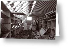 Inside Storage Building Sepia 2 Greeting Card