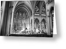 Inside The Cathedral Basilica Of The Immaculate Conception 1 Bw Greeting Card