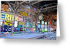 Inside The Old Train Roundhouse At Bayshore Near San Francisco And The Cow Palace V  Greeting Card