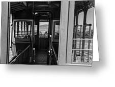 Inside Trolley 28 Black And White Greeting Card