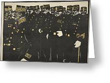 Inspection Of A Line Of Police Greeting Card