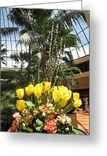 Interior Decorations Butterfly Gardens Vegas Golden Yellow Tulip Flowers Greeting Card
