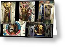 Interior Hatches Collage Russian Submarine Greeting Card