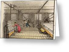 Interior Of Cotton Mill With Man Greeting Card