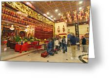 Interior Of Thien Hau Temple A Taoist Temple In Chinatown Of Los Angeles Greeting Card