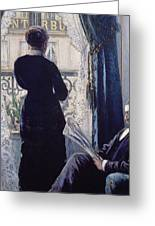 Interior Woman At The Window Greeting Card by Gustave Caillebotte