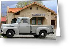 International Harvester L-110 Truck At Santa Fe Train Depot Greeting Card