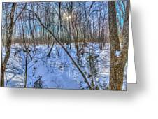 Intersecting Snow Streams Greeting Card