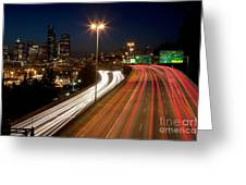 Interstate Traffic In Seattle Washington Greeting Card