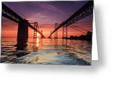 Into Sunrise - Bay Bridge Greeting Card