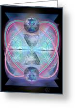 Intwined Hearts Gold-lipped 3d Chalice Orbs Radiance Greeting Card