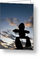 Inukshuk Silhouette Sunset Greeting Card