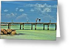 Investigating At Rod And Reel Pier Greeting Card