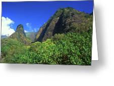 Io Needle And Valley Maui Hawaii Greeting Card