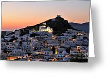 Ios Town During Sunset Greeting Card