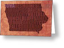 Iowa Word Art State Map On Canvas Greeting Card by Design Turnpike