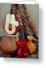 Ipu Heke And Red Ukulele With White Satin Lei Greeting Card