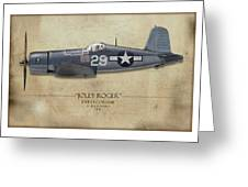 Ira Kepford F4u Corsair - Map Background Greeting Card