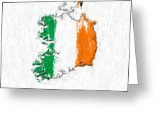 Ireland Painted Flag Map Greeting Card