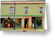 Irenes's Pub And Ernesto's Barber Shop Bank St Shops In The Glebe Paintings Of Ottawa Cspandau  Greeting Card