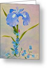 Iris With Forget Me Nots Greeting Card