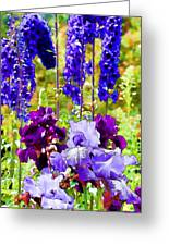 Irises And Delphinium In The Garden Greeting Card