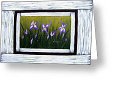 Irises And Old Boards - Weathered Wood Greeting Card
