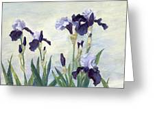 Irises Purple Flowers Painting Floral K. Joann Russell                                           Greeting Card