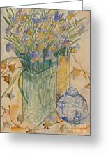 Irises With Chinese Pot Greeting Card
