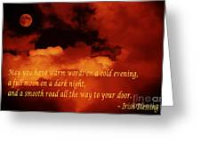 Irish Blessing On Orange Clouds And Full Moon Greeting Card