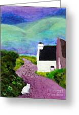 Irish Cottage With Cat Greeting Card