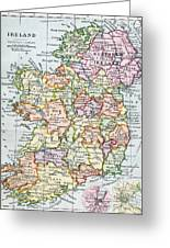 Irish Free State And Northern Ireland From Bacon S Excelsior Atlas Of The World Greeting Card