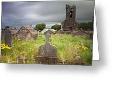 Irish Graveyard Cemetary Dark Clouds Greeting Card