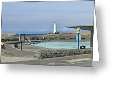 Irish Sea Lighthouse On Pier Greeting Card