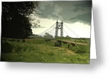Iron Footbridge Near Doveridge, Elegant Suspension Bridge Greeting Card