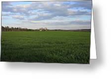 Great Friends Iron Horse Wheat Field And Silos Greeting Card