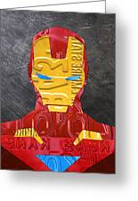 Iron Man Superhero Vintage Recycled License Plate Art Portrait Greeting Card