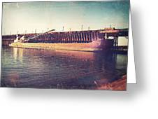 Iron Ore Freighter In Dock Greeting Card
